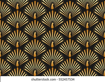 Vector illustration of golden peacock in black background seamless pattern in art deco style