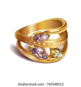 Vector illustration. Golden ring.