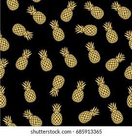 vector illustration of golden seamless pineapple background pattern.
