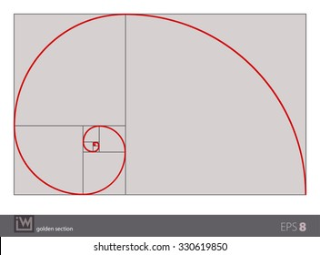 Vector illustration of the golden section (golden ratio), the most important proportion in the art and the nature. Isolated background; the gray background can be omitted or changed.