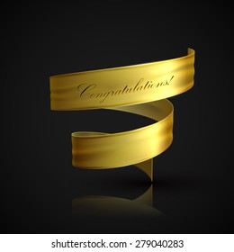 vector illustration of golden textile ribbon. decorative element for design. banner