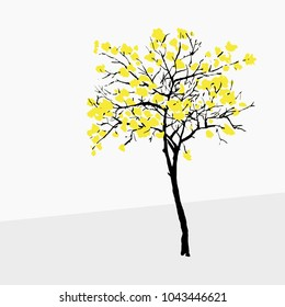 Vector illustration of a golden trumpet tree