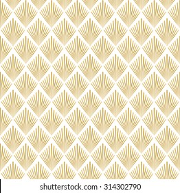 Vector illustration of golden and white seamless pattern in art deco style