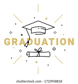 Vector illustration of golden word graduation with graduate cap and diploma on white background. Congratulation graduate class of graduation. Line art style design of greeting card, banner, invitation