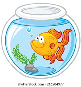 Vector illustration of Goldfish in a bowl