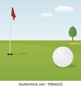 Vector illustration of golf ball on green