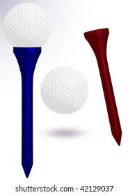 Vector illustration of a golf ball with golf tee. All objects and details are isolated. Colors and white background color are easy to adjust/customize. Gradient effect in the back is optional.