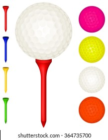 Vector illustration of golf balls and tees in various colors.