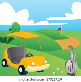 Vector illustration of Golf Course on happy day