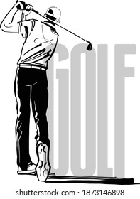 the vector illustration of the golf player