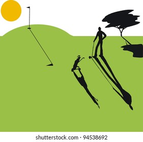Vector illustration of golfer playing at sunset with long shadows