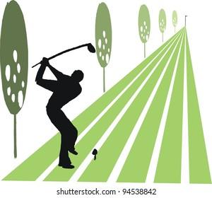 Vector illustration of golfer swinging club on fairway.