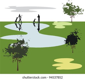 Vector illustration of golfers near lake on course