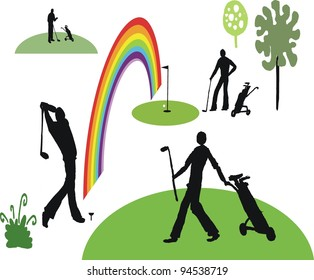 Vector illustration of golfers playing on course.