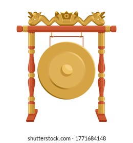 Vector illustration of gong, Indonesian traditional music isolated on white background