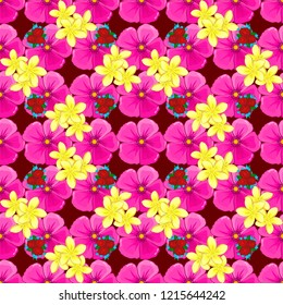 Vector illustration good for the interior design, printing, web and textile design. Seamless texture of floral ornament in yellow, pink and magenta colors. Optical illusion with cosmos flowers.