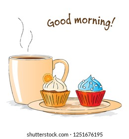 Vector illustration : Good morning snack with cupcakes and cup of tea
