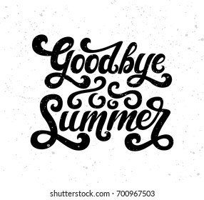 Vector illustration of Goodbye Summer text. Goodbye summer lettering vector. Calligraphy text isolated on texture background. Typography for photo overlay/ t-shirt print/poster design/greeting card
