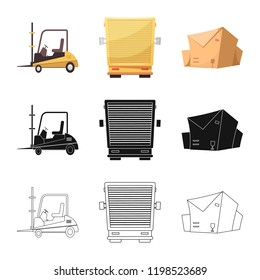 Vector illustration of goods and cargo logo. Set of goods and warehouse stock symbol for web.