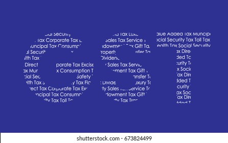 Vector illustration of Goods and Services Tax  or GST formed with different words related to taxes