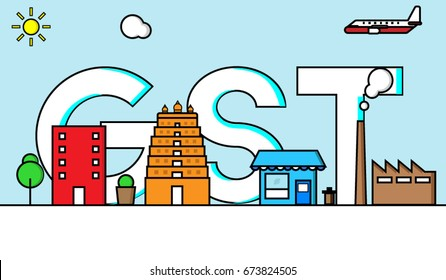 Vector illustration of Goods and Services Tax or GST with industry, store, temple, apartments etc. that come under GST