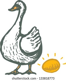 Vector illustration of goose and golden egg