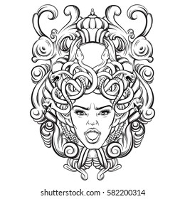 Vector illustration of Gorgon with baroque frame made in hand drawn style. Character design.  Tattoo and mythological art. Template for card, poster, banner, print for t-shirt.