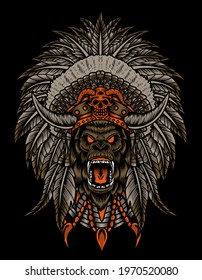 vector illustration of a gorilla head with Indian apache headdress, hat