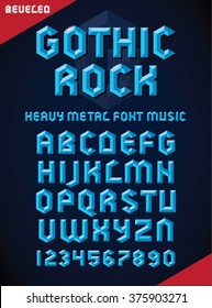 Vector illustration of gothic font, beveled alphabet and numbers. Upper case.
