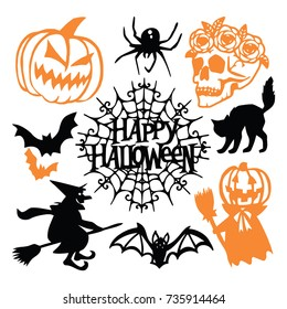 A vector illustration of a gothic halloween paper cut silhouette set. This includes pumpkin, spider, skull with flowers, bats and more.