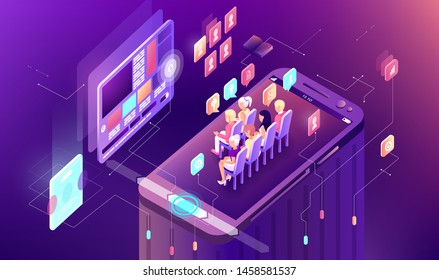 Vector illustration gradient isometric business presentation smart phone mobile research infographic design learning study education work display audience viewer listener screen sale icon advertising