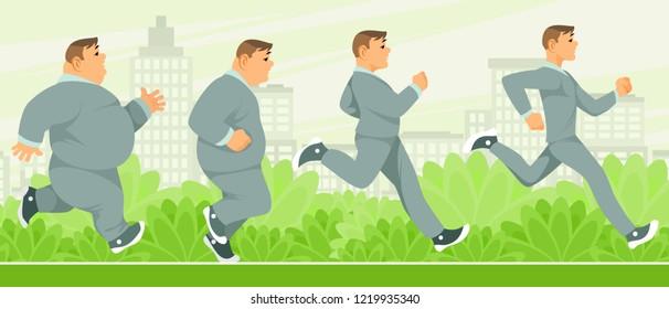 Vector illustration of gradual weight loss man