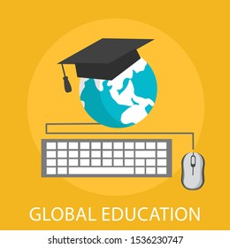 """Vector illustration of graduate & e-learning concept with """"global education"""" school and university icon."""