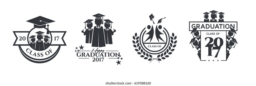 vector illustration of a graduating class in 2017 graphics elements for t-shirts, and the idea for the sign or badge