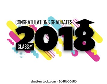 vector illustration of a graduating class in 2018 graphics elements for t-shirts, and the idea for the sign or badge