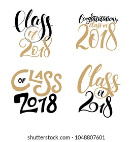 vector illustration of a graduating class of 2018. graphics elements for t-shirts, and the idea for the sign or badge