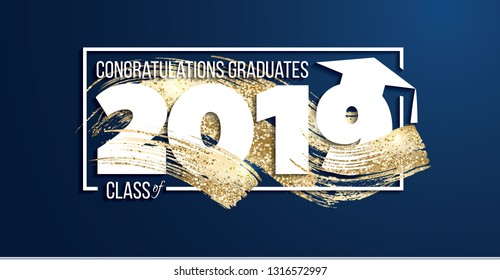 vector illustration of a graduating class of 2019. graphics elements for t-shirts, and the idea for the sign or badge