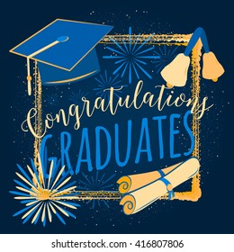 Vector illustration graduation background congratulations graduates, color design for the graduation party. Typography greeting, invitation graduation card with sunburst, diplomas, hat, bells