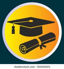 Vector Illustration - graduation cap and diploma icon
