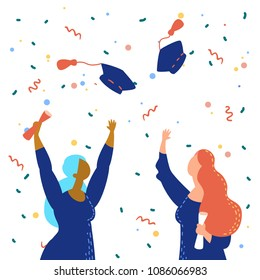 Vector illustration graduation ceremony flat style with graduates put hand up. Commencement day
