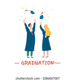 Vector illustration graduation ceremony flat style. Commencement day
