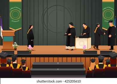 A vector illustration of graduation girl at podium