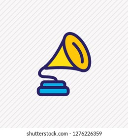 Vector illustration of gramophone icon colored line. Beautiful party element also can be used as phonograph icon element.
