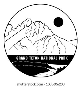 Vector illustration of Grand Teton National Park in USA. Mountains. Can be used as a print for clothes, T-shirts, mugs, textiles, souvenirs, and notepads.