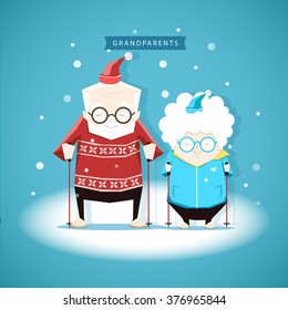Vector illustration of the grandfather and grandmother on the skiing in winter