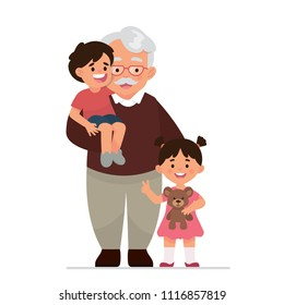 vector illustration grandfather, old man, father with two grandchildren, grandson and granddaughter
