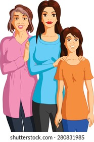 Vector illustration of a grandmother, mother and granddaughter.