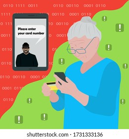 vector illustration a grandmother is standing with a phone and a credit card, a fraudster on the phone wants to steal money from a credit card and asks for a card number, online fraud