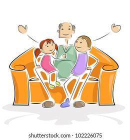 vector illustration of grandpa sitting with grand child in sofa