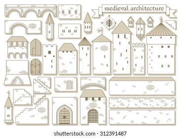 Vector illustration: graphic architectural elements of the middle ages royal castle - make a design of your own castle for your pattern or web-site